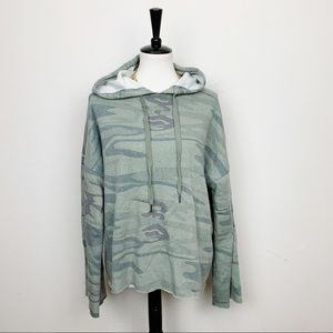 Z Supply Camo Bell Sleeve Pullover Hoodie Sz L